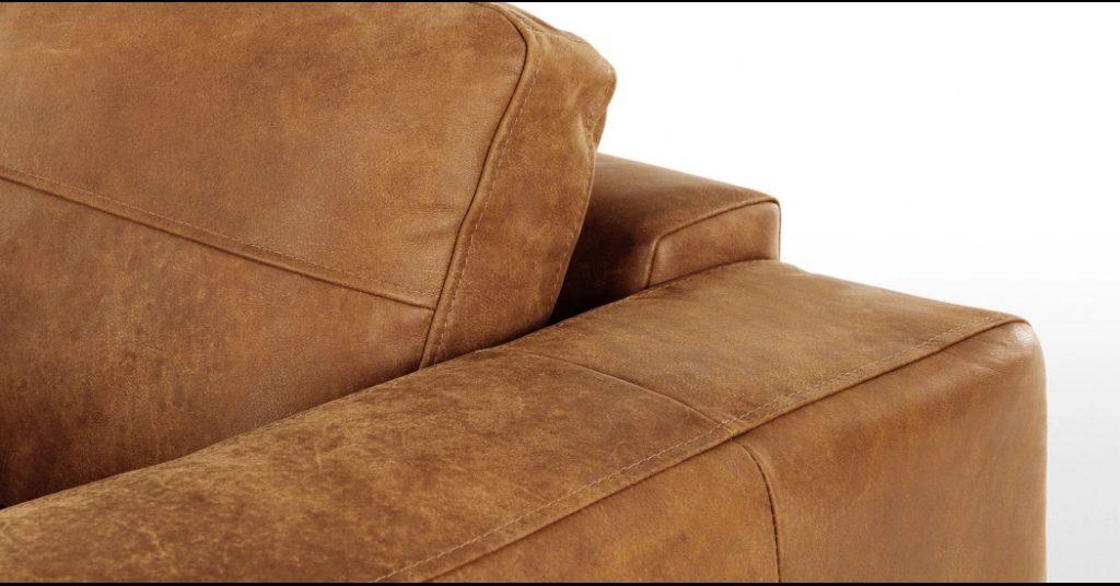 Canapé droit 2 places marron clair en cuir italien effet vieilli