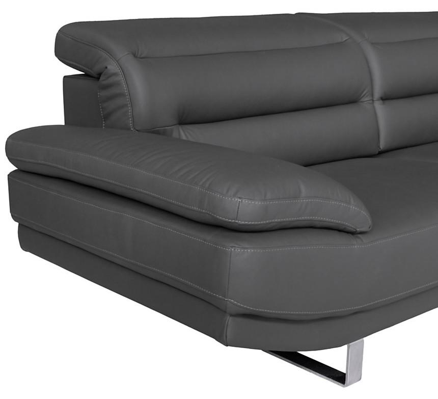 Canapé droit 3 places avec têtières en cuir anthracite