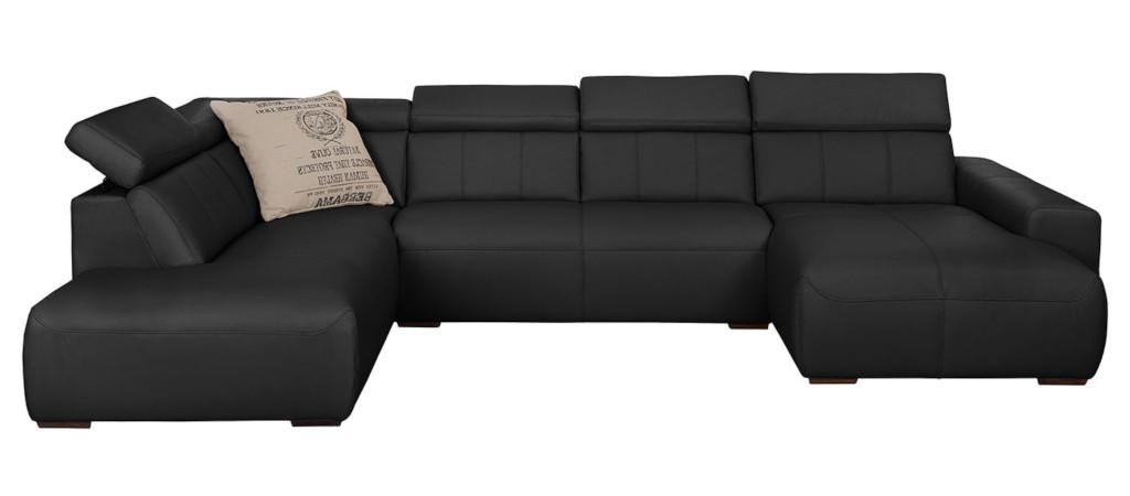canapé panoramique en cuir noir confortable