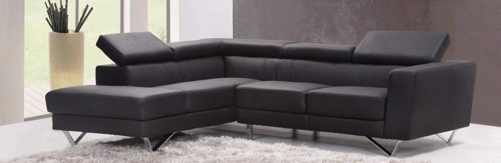 canapé d'angle en cuir de veau noir